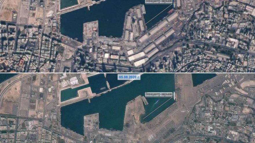 Imagen satelital sobre el puerto de Beirut, publicada por la agencia espacial de Rusia.
