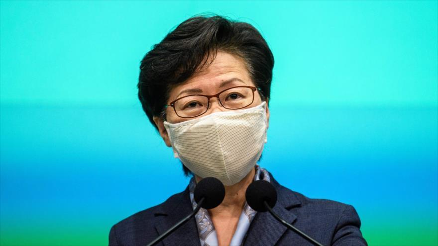 La directora ejecutiva de la Región Administrativa Especial de Hong Kong, Carrie Lam, en una rueda de prensa, 9 de junio de 2020. (Foto: AFP)