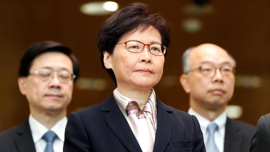 La jefa ejecutiva de Hong Kong, Carrie Lam, en una conferencia de prensa, 5 de agosto de 2019. (Foto: Reuters)