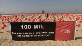 Playa de Río de Janeiro rinde homenaje a muertes por COVID-19
