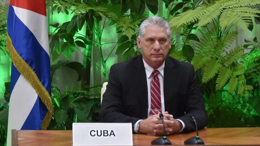 El presidente de Cuba, Miguel Díaz-Canel, en una reunión.
