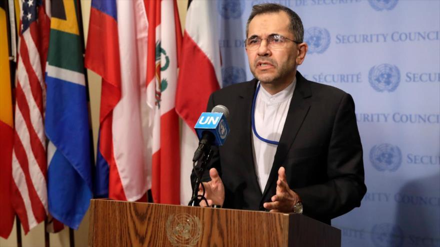 El representante permanente de Irán ante la ONU, Mayid Tajt Ravanchi, en una conferencia de prensa, 24 de junio de 2019.