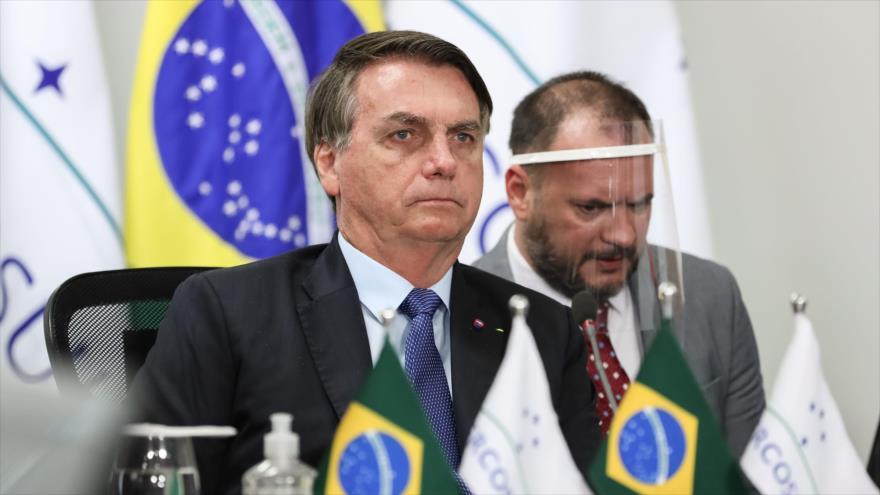 El presidente brasileño, Jair Bolsonaro, durante una videoconferencia, en Brasilia, la capital, 2 de julio de 2020. (Foto: AFP)