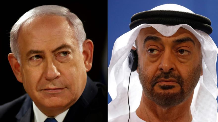 El príncipe heredero de los Emiratos Árabes Unidos (EAU), Muhamad bin Zayed Al-Nahyan (dcha.), y el premier israelí, Benjamín Netanyahu. (Foto: AFP)