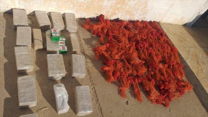 Explosivos incautados por las fuerzas de seguridad iraquíes a los terroristas cerca de la frontera siria, 13 de agosto de 2020.