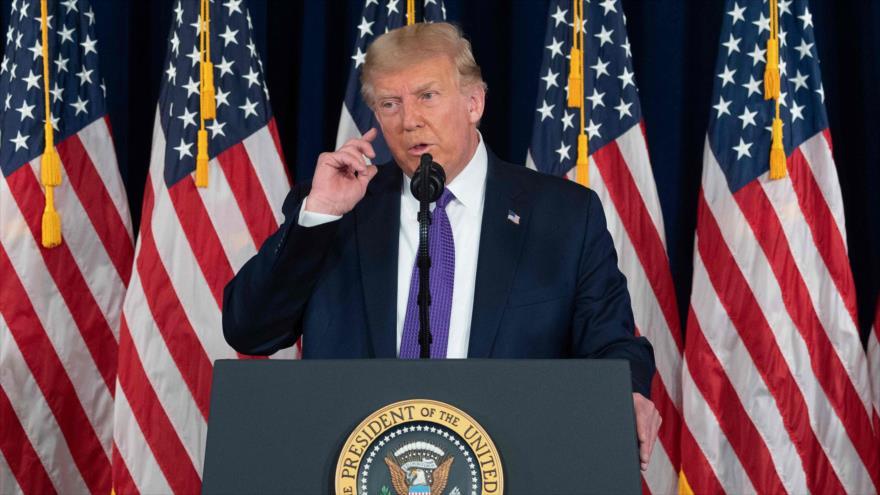 El presidente de EE.UU., Donald Trump, en una conferencia de prensa en Bedminster, en el estado de Nueva Jersey, 15 de agosto de 2020. (Foto: AFP)