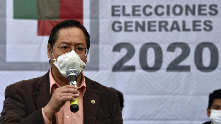 El candidato presidencial por el Movimiento al Socialismo (MAS), Luis Arce, en La Paz (capital boliviana), 2 de junio de 2020. (Foto: AFP)