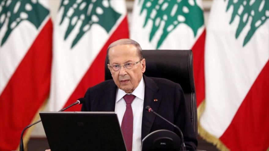 El presidente de El Líbano, Michel Aoun, ofrece un discurso en el palacio presidencial en Beirut, capital, 25 de junio de 2020. (Foto: Reuters)