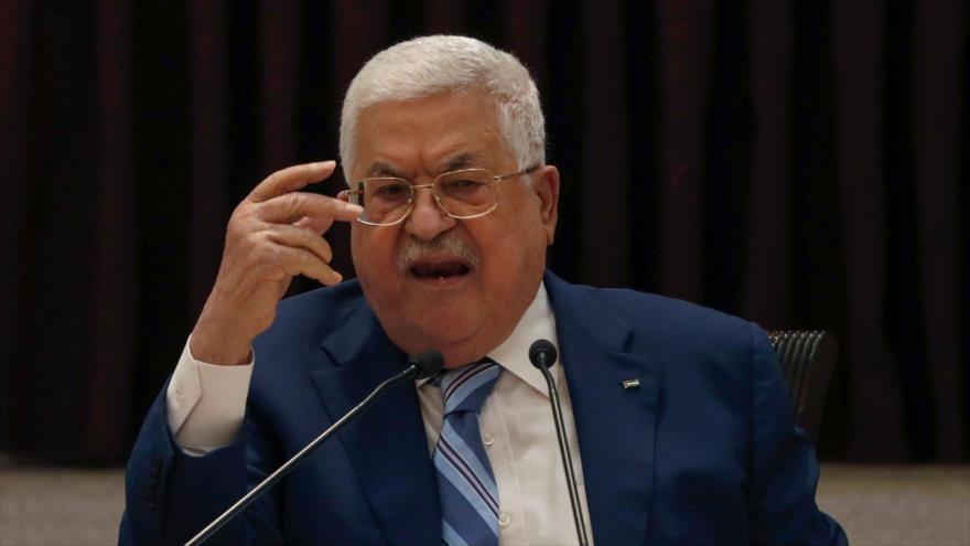 El presidente palestino, Mahmud Abás, durante una reunión en la ciudad cisjordana de Ramalá, 18 de agosto de 2020. (Foto: AFP)