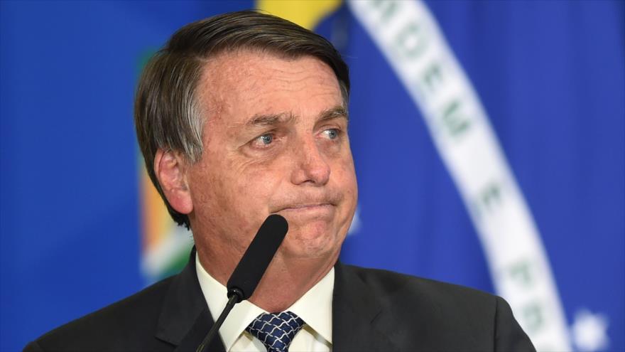 El presidente brasileño, Jair Bolsonaro, en una ceremonia celebrada en el Palacio de Planalto, Brasilia (capital), 19 de agosto de 2020. (Foto: AFP)