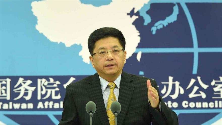 Ma Xiaoguang, portavoz de la Oficina de Asuntos de Taiwán del Consejo de Estado de China, durante una rueda de prensa celebrada el 15 de agosto de 2018.