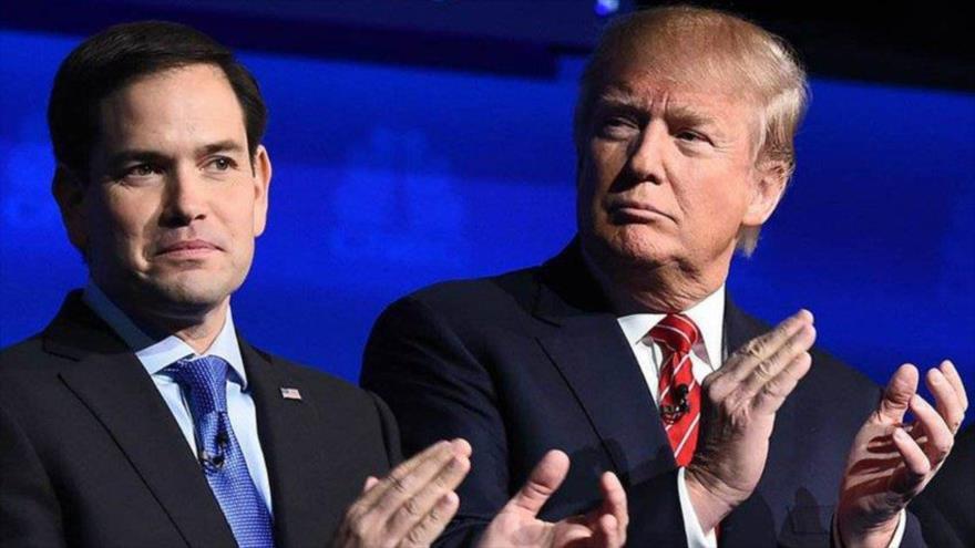 El senador republicano Marco Rubio (izq.) junto al presidente de EE.UU., Donald Trump.