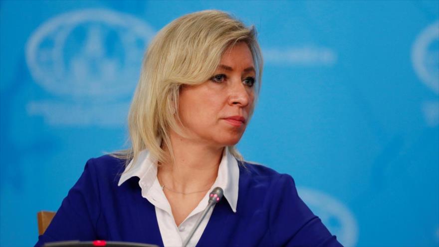 La portavoz de la Cancillería rusa, María Zajárova, durante una rueda de prensa en Moscú (la capital), 13 de agosto de 2020. (Foto: Reuters)