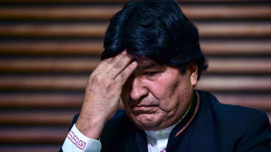 El depuesto presidente de Bolivia, Evo Morales, en una rueda de prensa en Buenos Aires, capital argentina, 21 de febrero de 2020. (Foto: AFP)