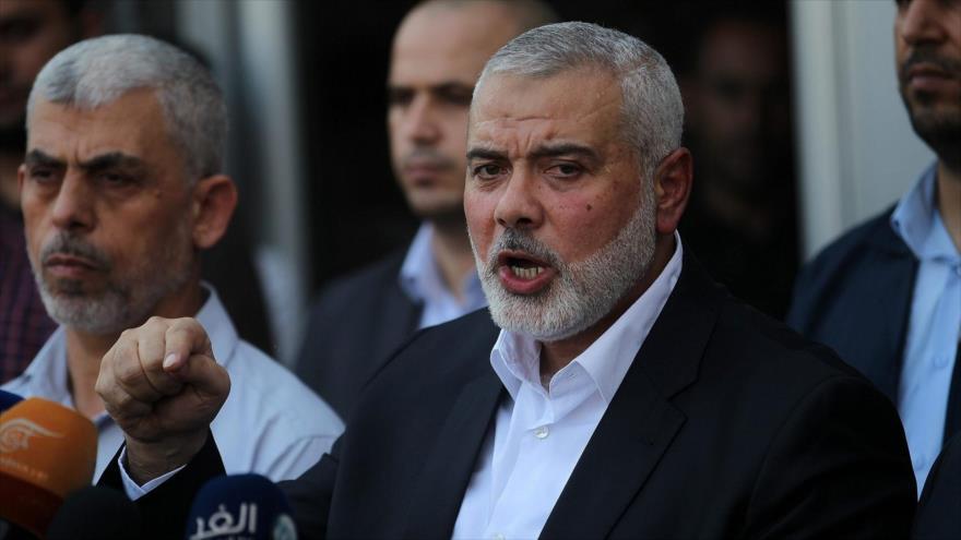 El jefe de la dirección política del Movimiento de Resistencia Islámica de Palestina (HAMAS), Ismail Haniya, en una rueda de prensa en el sur de Gaza.