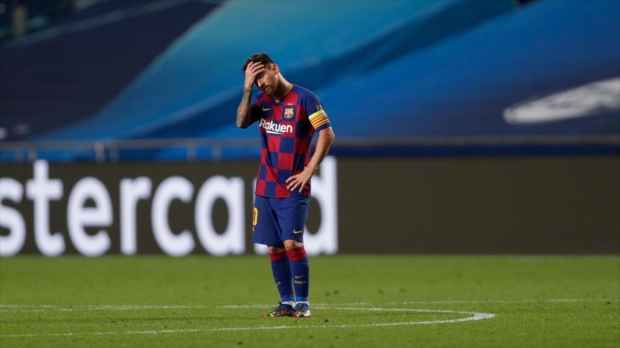 El astro argentino Leo Messi durante un partido en el estadio Luz de Lisboa, Portugal, 14 de agosto de 2020. (Foto: AFP)