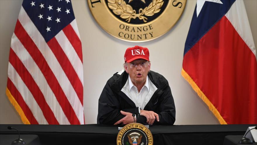 El presidente de EE.UU., Donald Trump, en una sesión informativa en Texas, 29 de agosto de 2020. (Foto: AFP)