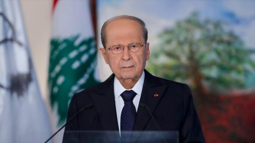 El presidente libanés, Michel Aoun, ofrece un discurso en Beirut, la capital, 30 de agosto de 2020. (Foto: AFP)