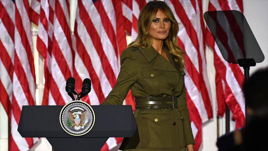 La primera dama de Estados Unidos, Melania Trump, en un acto en Washington, la capital, 25 de agosto de 2020. (Foto: AFP)