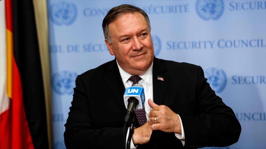 El secretario de Estado de EE.UU., Mike Pompeo, habla en la sede de la ONU, Nueva York, 20 de agosto de 2020. (Foto: AFP)