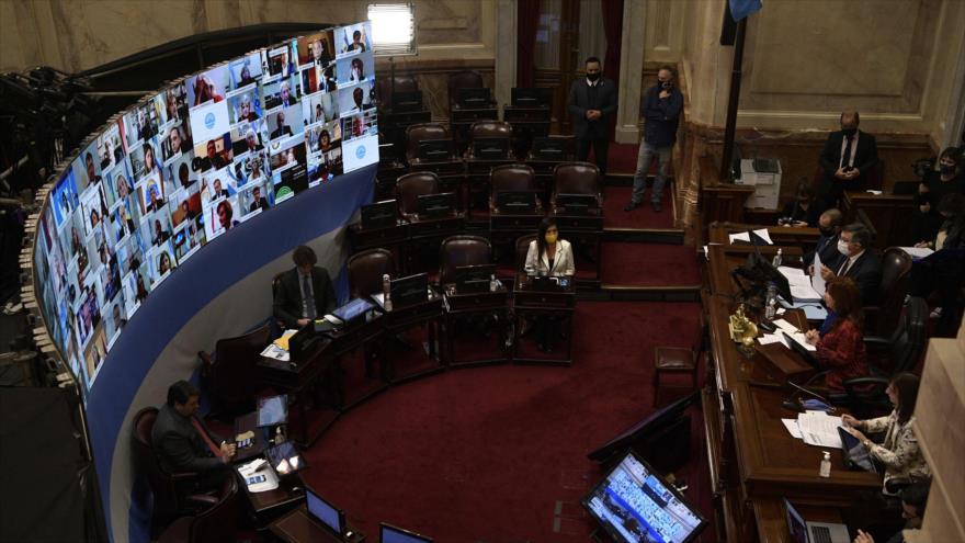 La primera sesión virtual del Senado argentino en Buenos Aires, Argentina, 13 de mayo de 2020. (Foto: AFP)