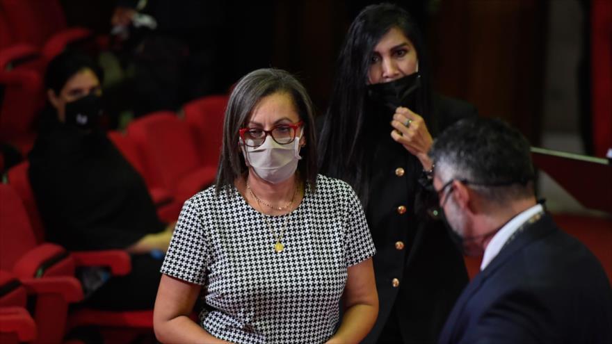 La presidenta del Consejo Nacional Electoral de Venezuela, Indira Alfonzo, en el Tribunal Supremo Federal en Caracas, la capital, 12 de junio de 2020. (Foto: AFP)