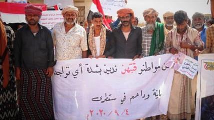 Residentes de isla yemení rechazan presencia de Israel y EAU