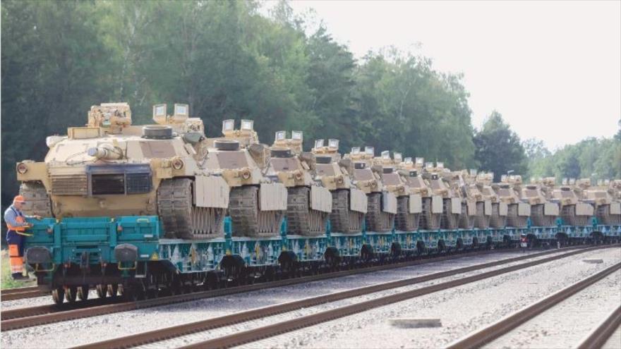 EE.UU. envía cientos de carros de combate a Lituania para ejercicios militares, 5 de septiembre de 2020. (Foto: AFP)