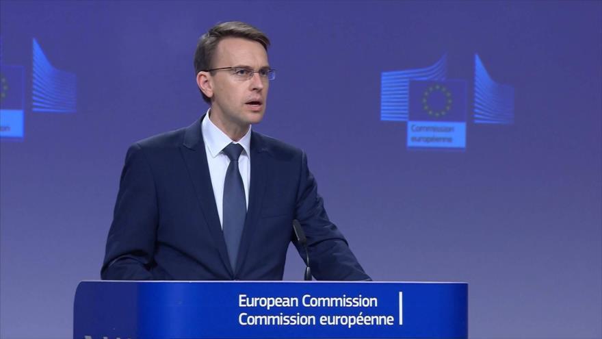 El portavoz de Asuntos Exteriores y Política de Seguridad de UE,Peter Stano, en una rueda de prensa de la Comisión Europea en Bruselas (capital belga).