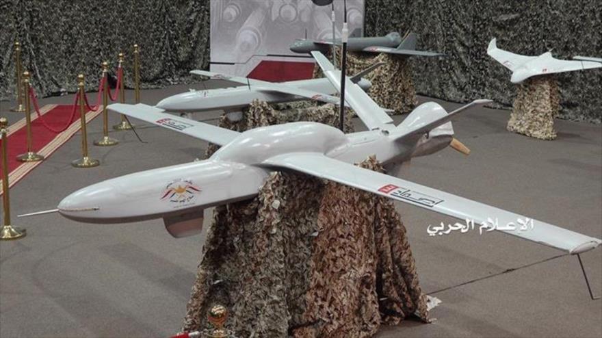 Avión no tripulado Samad-3 del Ejército yemení, presentado en una exhibición militar en Saná, la capital.