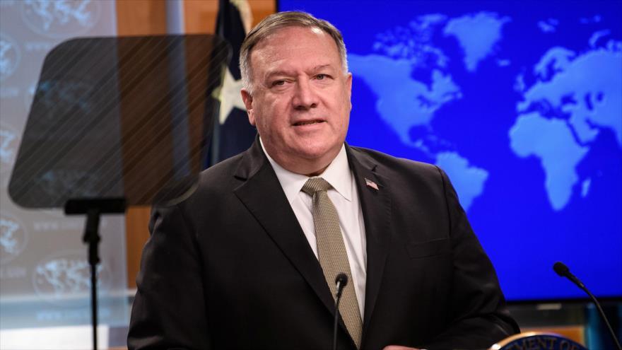 El secretario de Estado de EE.UU., Mike Pompeo, en una rueda de prensa en el Departamento de Estado, Washington (capital), 2 de septiembre de 2020. (Foto: Reuters)