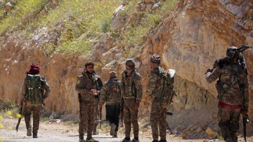 Un grupo de milicias kurdo-árabes, apoyadas por EE.UU., en una región oriental de Siria.
