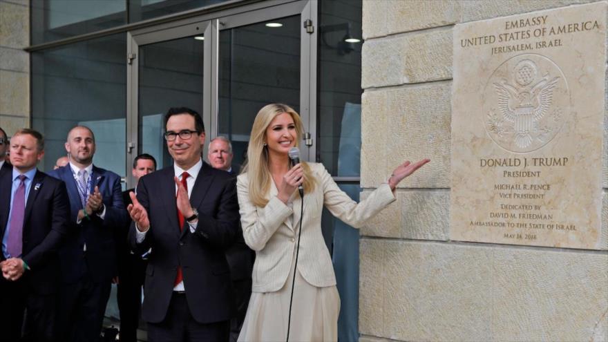 La hija mayor del presidente de EE.UU., Ivanka Trump, durante la inauguración de la embajada de estadounidense en Al-Quds (Jerusalén), 14 de mayo de 2018.