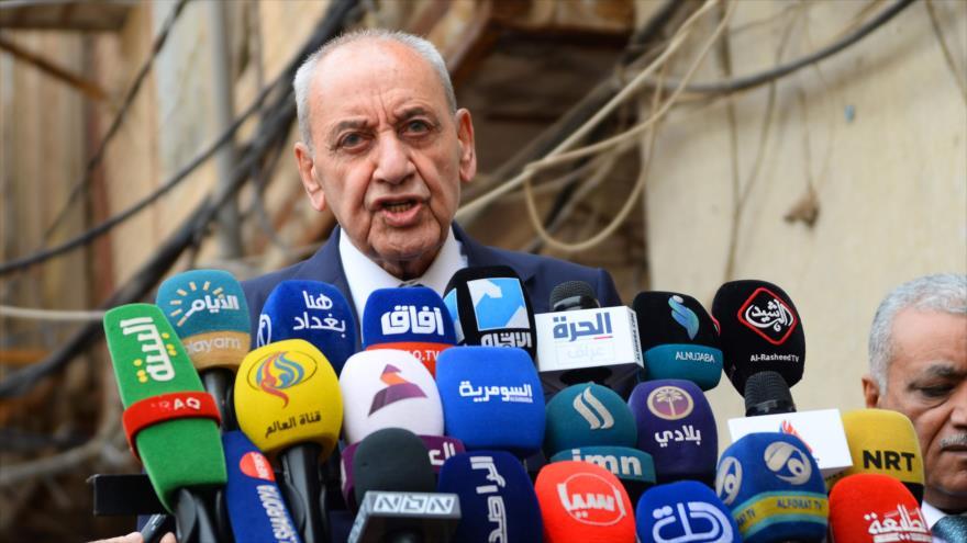 El presidente del Parlamento libanés, Nabih Berri, habla con la prensa, 1 de abril de 2019. (Foto: AFP)