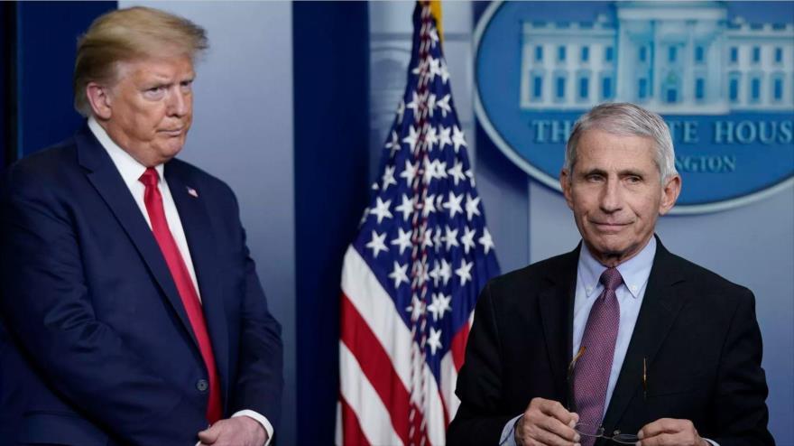Anthony Fauci, principal epidemiólogo de EE.UU. (dcha.), y el presidente Donald Trump, en la Casa Blanca, 22 de abril de 2020. (Foto: AFP)