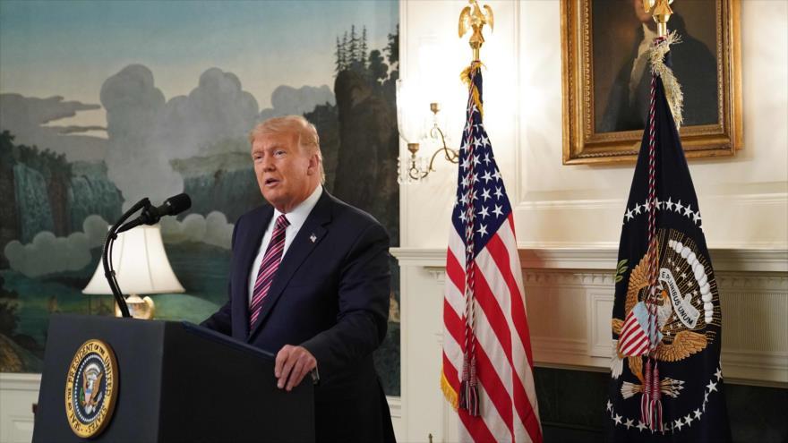 El presidente de EE.UU., Donald Trump, ofrece una rueda de prensa celebrada en la Casa Blanca en Washington DC., el 9 de septiembre de 2020. (Foto: AFP)