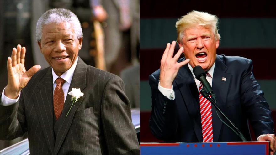 El presidente de EE.UU., Donald Trump (dcha.), y el fallecido líder anti-apartheid sudafricano, Nelson Mandela.