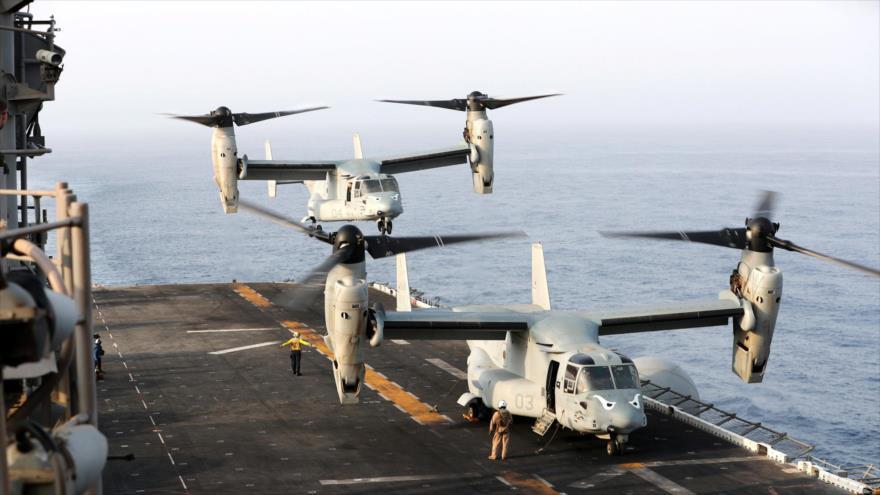 Aeronaves de EE.UU. en el Golfo Pérsico.