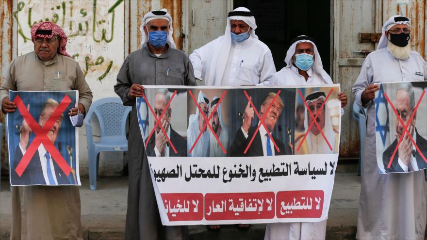 Palestinos protestan en la Franja de Gaza contra normalización de lazos con Israel, 12 de septiembre de 2020. (Foto: AFP)