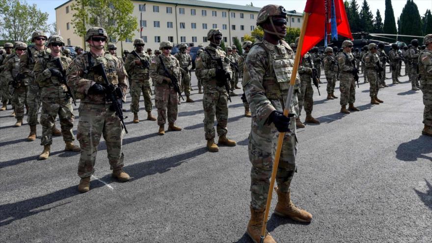 Militares estadounidenses asisten a la ceremonia de apertura de ejercicios militares de la OTAN en Georgia, 7 de septiembre de 2020. (Foto: AFP)