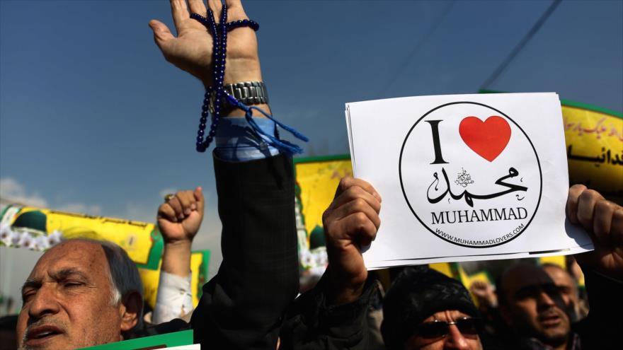 Un protesta de los iraníes contra la profanación de la revista francesa Charlie Hebdo en contra del Profeta del Islam, el Hazrat Muhamad (P).