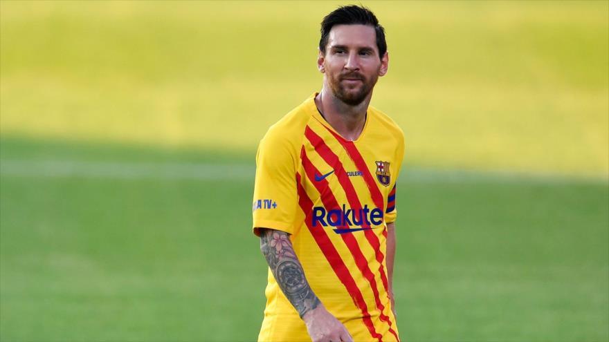 El delantero argentino del FC Barcelona Lionel Messi durante un partido amistoso con Nastic, 12 de septiembre de 2020. (Foto: AFP)