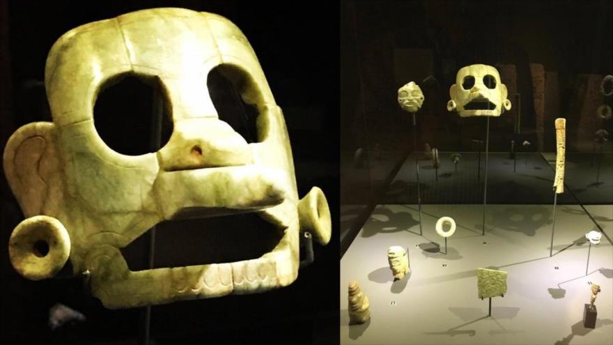 La máscara de jade que ha sido devuelta a Guatemala después de 12 años de su decomiso en Bruselas, Bélgica.