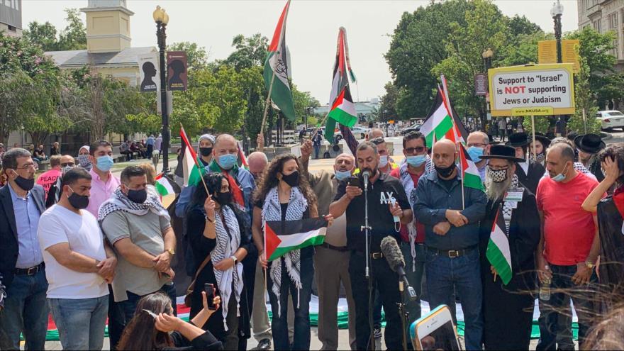 Protestan cerca de la Casa Blanca contra acuerdos de normalización   HISPANTV