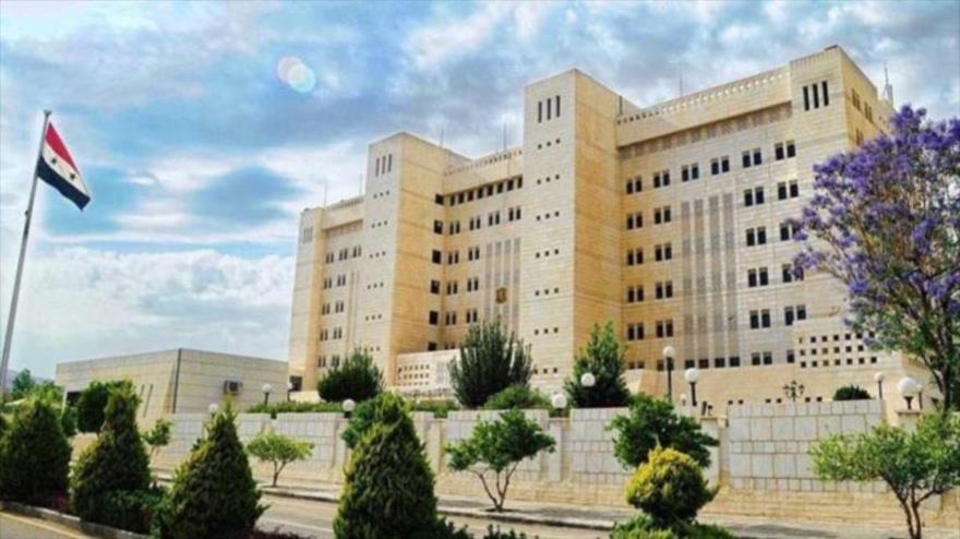 Vista general del edifico del Ministerio de Asuntos Exteriores de Siria en Damasco, la capital.