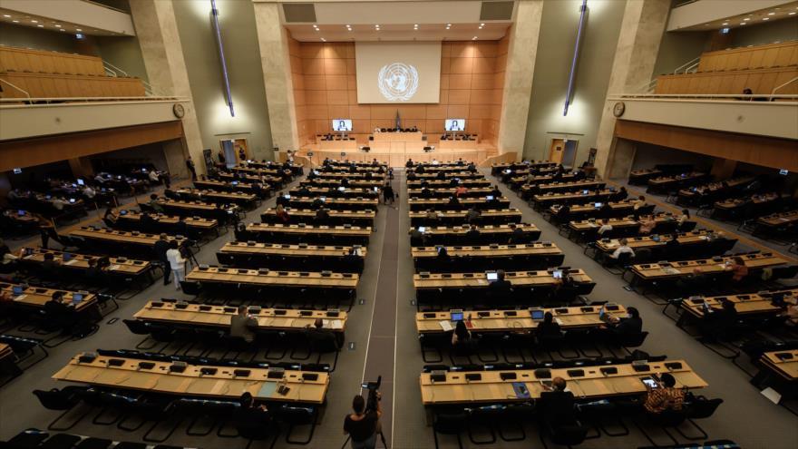 Una sesión del Consejo de Derechos Humanos de las Naciones Unidas (CDHNU) en Ginebra (Suiza), 30 de junio de 2020. (Foto: AFP)