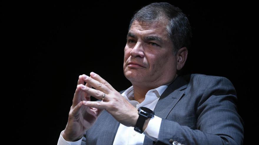El expresidente ecuatoriano Rafael Correa en una reunión en Bruselas, 22 de octubre de 2018.