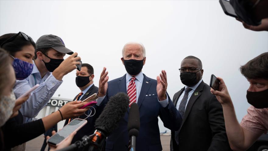 El candidato demócrata a la Presidencia de EE.UU., Joe Biden, habla con la prensa tras una reunión en Tampa, Florida, 15 de septiembre de 2020. (Foto: AFP)