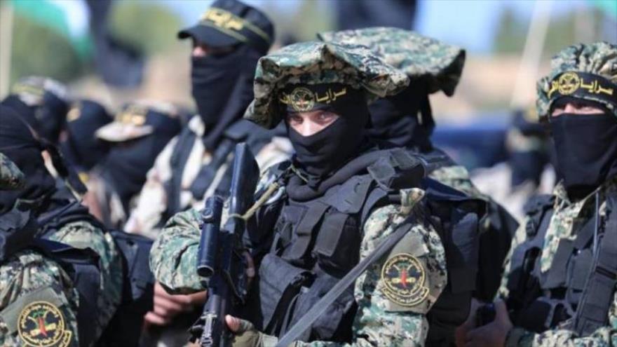 Miembros de las Brigadas de Al-Quds, rama armada del Movimiento de la Yihad Islámica Palestina durante un desfile en Gaza