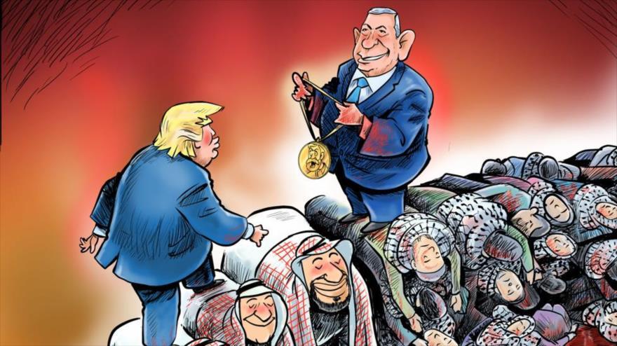 El sitio web del Líder iraní publica una caricatura satirizando la normalización de relaciones árabe-israelí mediada por EE.UU. Foto: (Khamenei.ir)